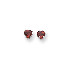 January Birthstone Girls Heart Earrings - Genuine Garnet - 14K White Gold - Push-Back Posts/