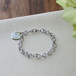 Graceful Heirloom™ - Sterling Silver Rembrandt Charm Bracelet for Girls - Add an engravable charm and birthstone to personalize /