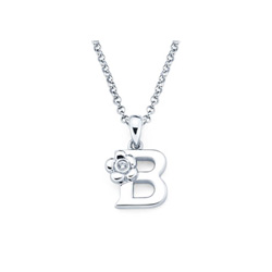 Adorable Small Letter B Pendant - Diamond Girls Initial Necklace - Sterling Silver Rhodium Chain and Pendant  - BEST SELLER/