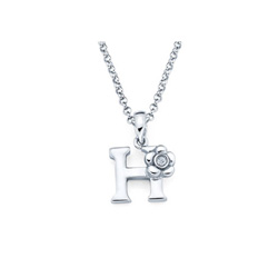 Adorable Small Letter H Pendant - Diamond Girls Initial Necklace - Sterling Silver Rhodium Chain and Pendant - BEST SELLER/