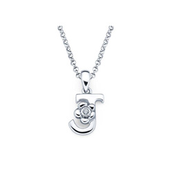 Adorable Small Letter J Pendant - Diamond Girls Initial Necklace - Sterling Silver Rhodium Chain and Pendant /