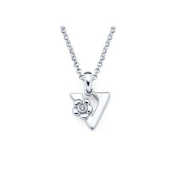 Adorable Small Letter V Pendant - Diamond Girls Initial Necklace - Sterling Silver Rhodium Chain and Pendant /