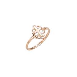 In Faith and Love - 10K Yellow Gold Girls Cross Ring - Size 4 Child Ring/
