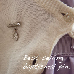 Miraculous Medal Christening Pin - Sterling Silver Rhodium - Add a birthstone to personalize/