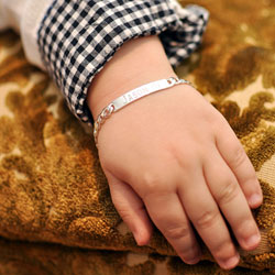 Boy's Jewelry Favorite - Personalized ID Sterling Silver Bracelet - Engravable on front and back - Size 6-inch (3 - 9 years)