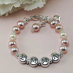 Emma™ by My First Pearls® – Grow-With-Me® designer original freshwater cultured pearl name bracelet – Personalize with gemstones & charms/