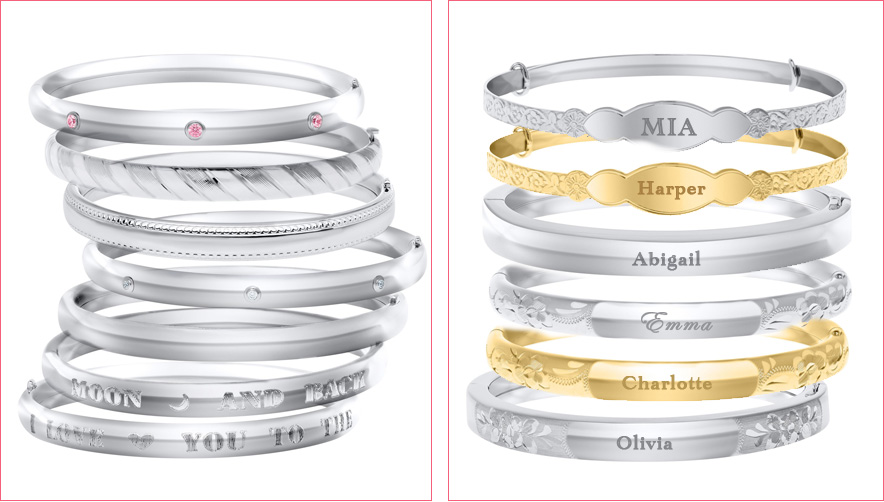 Personalized bangle bracelets for kids and baby.