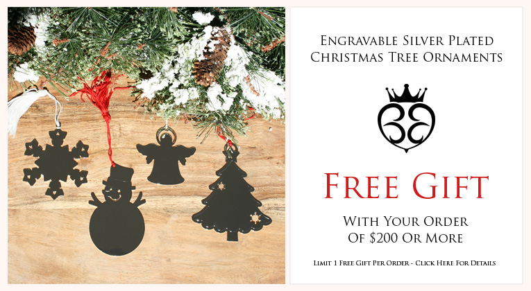 FREE Gift with Order - Engravable Silver Plated Christmas Tree Ornament