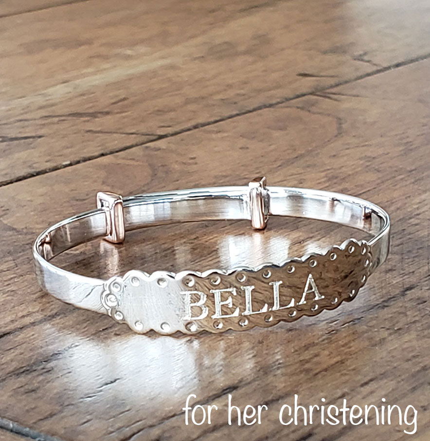 Silver Engravable Baby Bracelets are our specialty.