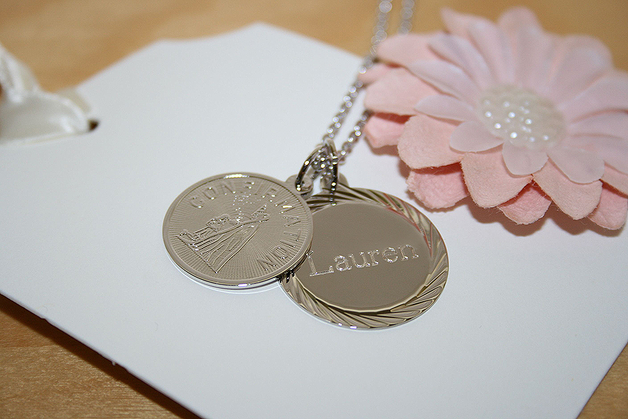 Custom personalized confirmation girls necklace.