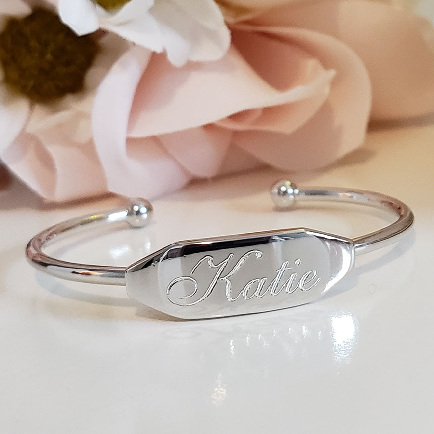 Personalized Silver Baby Cuff Bracelet