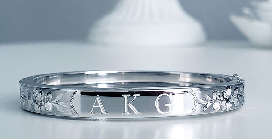 Engravable Silver Baby Bangle Bracelet