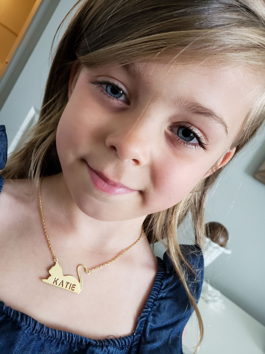 Personalized Cat Pendant Necklace for Girls