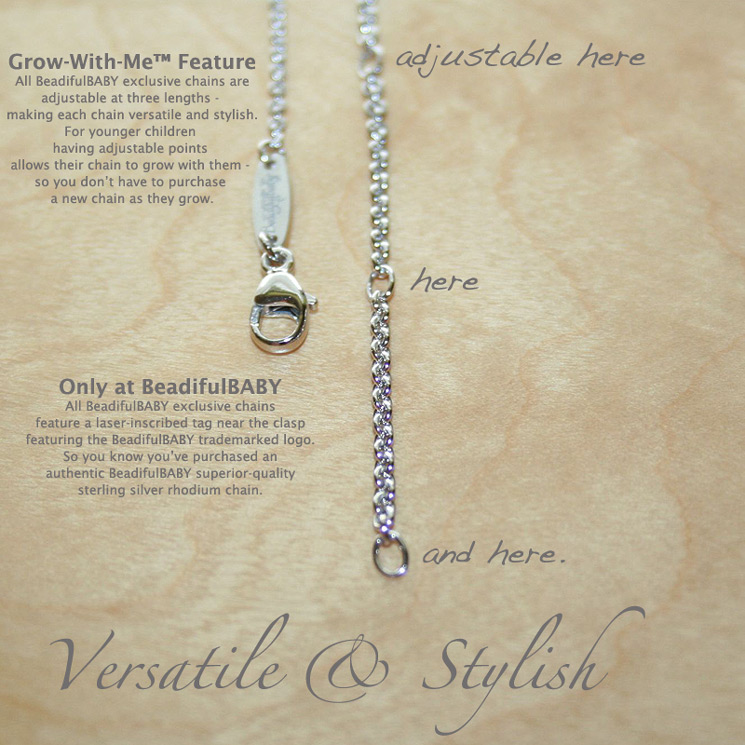 Superior-Quality Sterling Silver Rhodium Chains - Only at BeadifulBABY.
