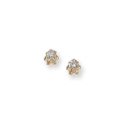 Baby / Little Girl Diamond Earrings - 0.14 CT TW - 14K Yellow Gold