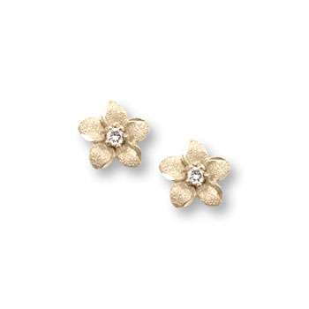 Girls Elegant Flower Girl Keepsakes™ - .04 ct. tw. Diamond 14K Yellow Gold Screw Back Diamond Flower Earrings for Babies & Toddlers - Safety threaded screw back post