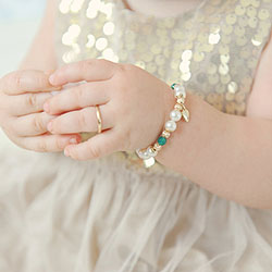 Heirloom Treasures™ by My First Pearls® Baby Bracelet – 14K yellow gold – Grow-With-Me® designer original freshwater cultured pearl baby bracelet – Personalize with gemstones & charms /