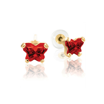 Teeny Tiny Butterfly Earrings for Baby Girls by Bfly® - January Garnet Cubic Zirconia (CZ) Birthstone - 14K Yellow Gold - Kids Earrings with Screw Back Safety Backs