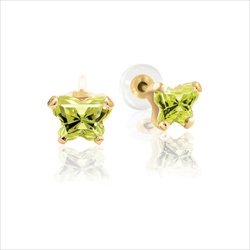 Teeny Tiny Butterfly Earrings for Baby Girls by Bfly® - August Peridot Cubic Zirconia (CZ) Birthstone - 14K Yellow Gold - Kids Earrings with Screw Back Safety Backs/