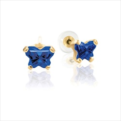 Teeny Tiny Butterfly Earrings for Baby Girls by Bfly® - September Blue Sapphire Cubic Zirconia (CZ) Birthstone - 14K Yellow Gold - Kids Earrings with Screw Back Safety Backs/