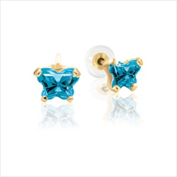 Childrens Butterfly Earrings - CZ December Birthstone - 14K Gold/