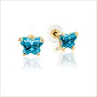 Childrens Butterfly Earrings - CZ December Birthstone - 14K Gold