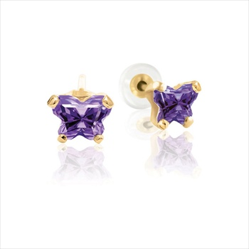 Childrens Butterfly Earrings - CZ February Birthstone - 14K Gold