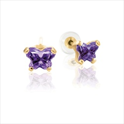Teeny Tiny Butterfly Earrings for Baby Girls by Bfly® - February Amethyst Cubic Zirconia (CZ) Birthstone - 14K Yellow Gold - Kids Earrings with Screw Back Safety Backs/