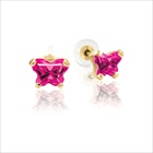 Childrens Butterfly Earrings - CZ July Birthstone - 14K Gold