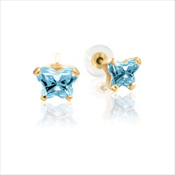 Teeny Tiny Butterfly Earrings for Baby Girls by Bfly® - March Aquamarine Cubic Zirconia (CZ) Birthstone - 14K Yellow Gold - Kids Earrings with Screw Back Safety Backs - BEST SELLER/