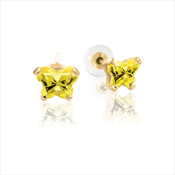 Teeny Tiny Butterfly Earrings for Baby Girls by Bfly® - November Citrine Cubic Zirconia (CZ) Birthstone - 14K Yellow Gold - Kids Earrings with Screw Back Safety Backs