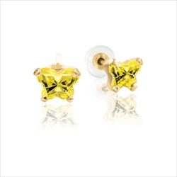 Teeny Tiny Butterfly Earrings for Baby Girls by Bfly® - November Citrine Cubic Zirconia (CZ) Birthstone - 14K Yellow Gold - Kids Earrings with Screw Back Safety Backs/