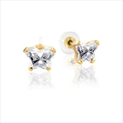 Childrens Butterfly Earrings - CZ April Birthstone - 14K Gold/