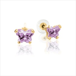 Teeny Tiny Butterfly Earrings for Baby Girls by Bfly® - June Alexandrite Cubic Zirconia (CZ) Birthstone - 14K Yellow Gold - Kids Earrings with Push on Safety Backs/