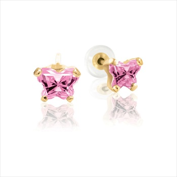 Teeny Tiny Butterfly Earrings for Baby Girls by Bfly® - October Pink Tourmaline Cubic Zirconia (CZ) Birthstone - 14K Yellow Gold - Kids Earrings with Push on Safety Backs