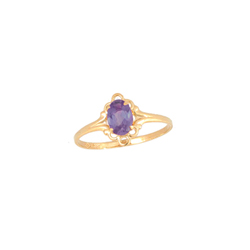 Children's Birthstone Rings - 14K Yellow Gold Girls February Amethyst Birthstone Ring - Size 5 1/2 - Perfect for Grade School Girls, Tweens, or Teens - BEST SELLER/