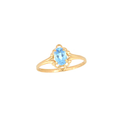 Children's Birthstone Rings - 14K Yellow Gold Girls Genuine Aquamarine March Birthstone Ring - Size 5 1/2 - Perfect for Grade School Girls, Tweens, or Teens - BEST SELLER/