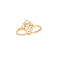 Children's Birthstone Rings - 14K Yellow Gold Girls April White Topaz Birthstone Ring - Size 5 1/2 - Perfect for Grade School Girls, Tweens, or Teens - BEST SELLER/