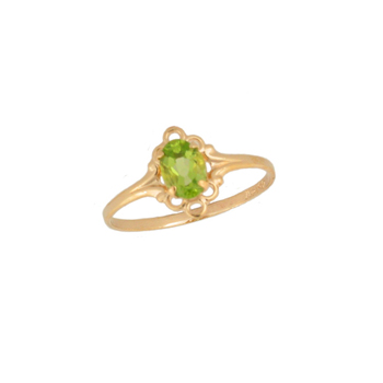 Children's Birthstone Rings - 14K Yellow Gold Girls Genuine Peridot August Birthstone Ring - Size 5 1/2 - Perfect for Grade School Girls, Tweens, or Teens - BEST SELLER