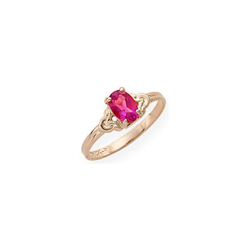 Kid's Birthstone Rings for Girls - 14K Yellow Gold Girls Genuine Ruby July Birthstone Ring - Size 4 1/2 - Perfect for Grade - School Girls, Tweens, or Teens - BEST SELLER