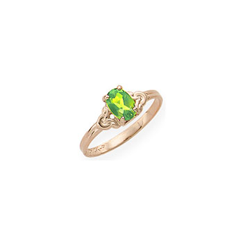 Kid's Birthstone Rings for Girls - 14K Yellow Gold Girls Genuine Peridot August Birthstone Ring - Size 4 1/2 - Perfect for Grade School Girls, Tweens, or Teens - BEST SELLER