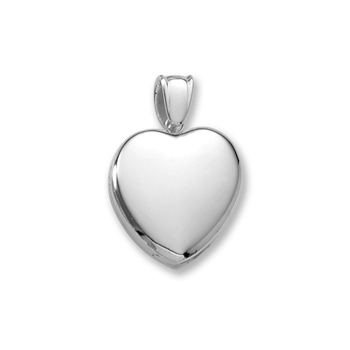 "Handmade Premium Heirloom Lockets to Love - Sterling Silver Rhodium 24mm Large Heart Photo Locket - Engravable on front and back - 20"" Chain Included"