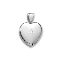 Handmade Premium Heirloom Lockets to Love - Sterling Silver Rhodium 24mm Large Heart Photo Locket - .04 ct. tw. Center Diamond - Engravable on back - 20