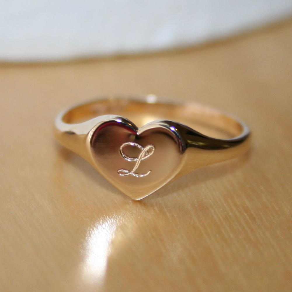 Silver Baby//Childs Half Engraved Heart Signet Ring