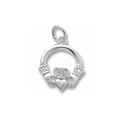 Rembrandt Sterling Silver Claddagh Charm – Add to a bracelet or necklace/