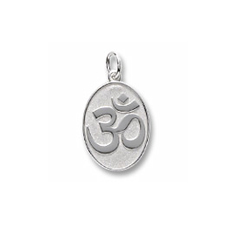 Rembrandt Sterling Silver Yoga Symbol Charm – Engravable on back - Add to a bracelet or necklace/