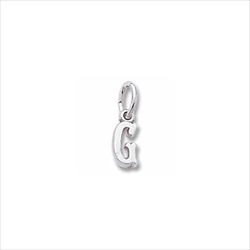 Rembrandt Sterling Silver Tiny Initial G Charm – Add to a bracelet or necklace/