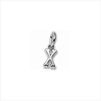 Rembrandt Sterling Silver Tiny Initial X Charm – Add to a bracelet or necklace