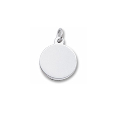 Special Moments Reminder™ - 14K White Gold Small Round Rembrandt Charm - Engravable on front and back - Add to a bracelet or necklace/