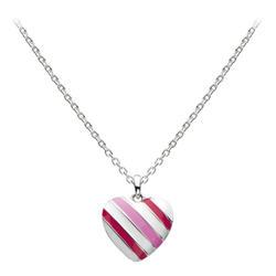 Candy Twist Pink and White Heart Necklace - Sterling Silver Rhodium Girls Heart Necklace - 14